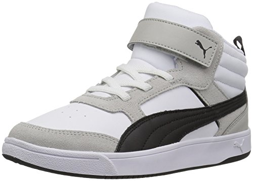 PUMA Unisex-Kids Rebound Street v2 V Sneaker, White Black, 3.5 M US Big Kid
