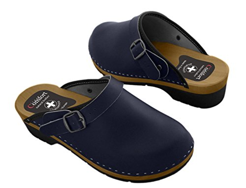 Women's Natural Leather Clogs with Buckle/Back Strap, Various Colors Navy Blue