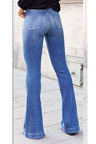 Bootcut Jeans Slim Vita Fit Per In Blu Alta Donne w1rPxtHq1
