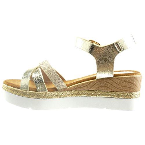 Angkorly - Zapatillas de Moda Sandalias alpargatas zapatillas de plataforma abierto mujer piel de serpiente madera cuerda Talón Plataforma 6 CM - Oro
