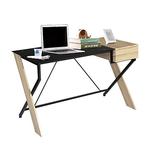 GreenForest Computer Writing Desk with Drawer for Home Office, Stylish Glass and Wood