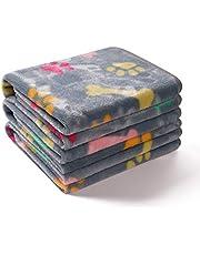 1 Pack 3 Blankets Super Soft Fluffy Premium Fleece Pet Blanket Flannel Throw for Dog Puppy Cat (Bone Paw,M)