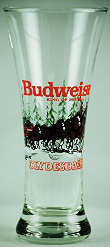 Rare Beer - 1992 - Anheuser-Busch Inc - Official Product - Budweiser : King of Beers - Clydesdales Winter Scene - 10 Ounce Beer Glass - OOP - Rare - Collectible