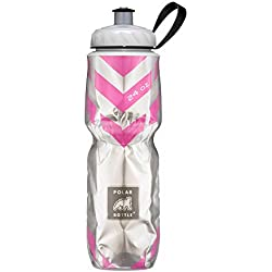 Polar Bottle Insulated Water Bottle (Chevron Pink) (24 oz) - 100% BPA-Free Water Bottle - Perfect Cycling or Sports Water Bottle - Dishwasher & Freezer Safe