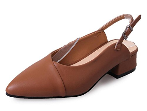 Con Sandalias De Baotou Cinturón Hebilla Khaki Zapatos Las Punta Espesor Verano Del Mujeres FEqZa8