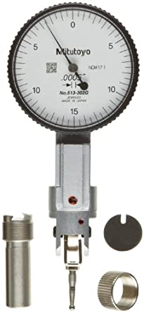 "Mitutoyo 513-302G Dial Test Indicator, Basic Set, Universal Type, 0.375"" Stem Dia., White Dial, 0-15-0 Reading, 1.575"" Dial Dia., 0-0.03"" Range, 0.0005"" Graduation, +/-0.0005"" Accuracy"