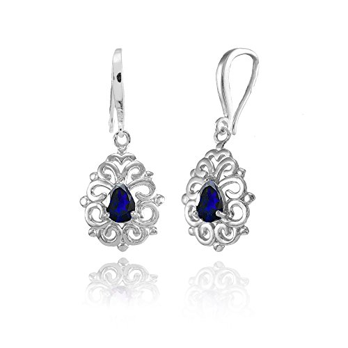 Sterling Silver Created Blue Sapphire 6x4mm Teardrop Filigree Dainty Dangle Earrings