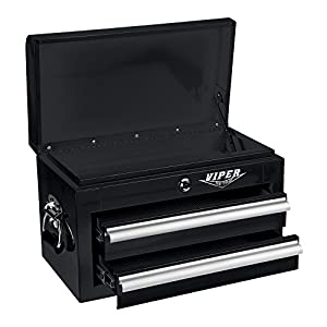 Viper Tool Storage V218MCBL 18-Inch 2-Drawer 18G Steel Mini Storage Chest w/ Lid Compartment, Black