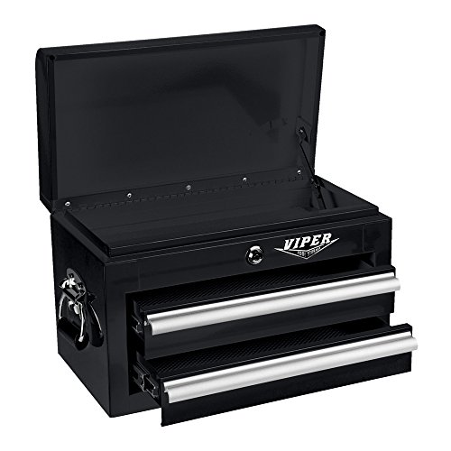 (Viper Tool Storage V218MCBL 18-Inch 2-Drawer 18G Steel Mini Storage Chest w/ Lid Compartment,)