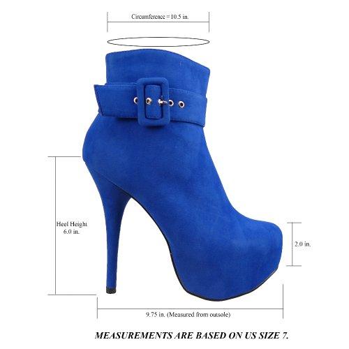 Womens Boots Spänne Sexiga Coverred Plattform Högklackade Skor Blå Mocka