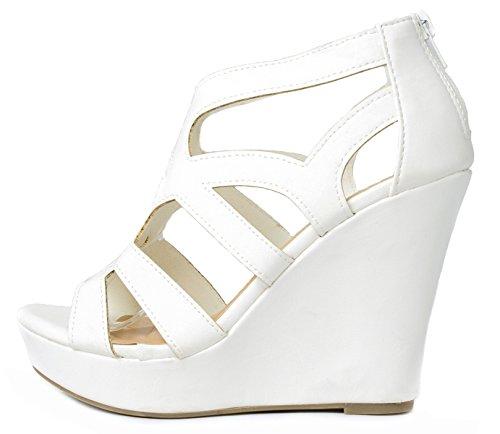 Ella15 White Strappy Cut Out Gladiator Roman Platform High Wedge Dress Sandal Shoes-8.5
