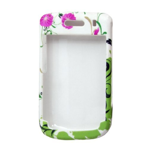 DealMux Flower Print Rubberized Hard Plastic Case Protector for BlackBerry 9630