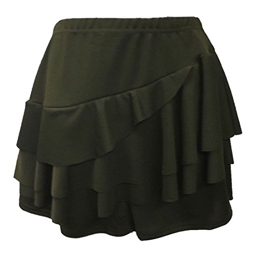 Women's Ruffled Side Frill Ra Ra Layered Skirt With Attached Hot Pant