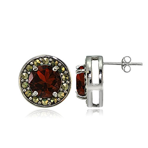 Sterling Silver Garnet and Marcasite Halo Stud (Sterling Silver Garnet Marcasite Earrings)