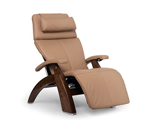 Perfect Chair Human Touch PC-610 Omni-Motion Series 2 Power Recline Walnut Wood Base Zero-Gravity Recliner - Sand Top Grain Leather - in-Home White Glove -
