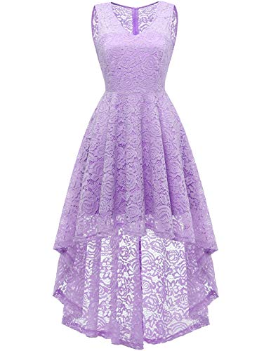 DRESSTELLS Women's Wedding Dress V-Neck Floral Lace Hi-Lo Bridesmaid Dress Lavender 2XL