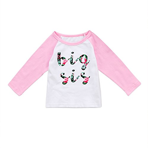 Big Sister Toddler Shirt (Ma&Baby Toddler Baby Girls Big Sister Long Sleeve T-shirt Tops Floral Outfits Clothes (Pink, 3-4 Years))