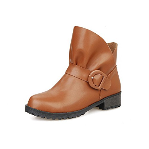 AgooLar Women's Solid PU Low-Heels Pull-On Round Closed Toe Boots Brown 2uoF74