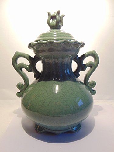 "10"" China Blue Fine Porcelain Vase with Lid by Seymour-Mann"