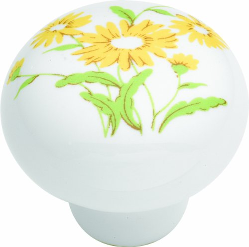 Hickory Hardware P632-YF 1-3/8-Inch English Cozy Cabinet Knob, Yellow Flower - Yellow Flower Drawer Pull