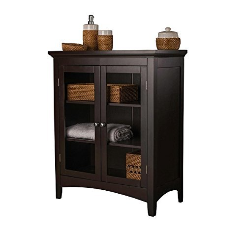 Storage Cabinets - This Floor Cabinet Will Bring Beauty As A Bathroom Storage Cabinet , Linen Cabinet or A General Purpose Hallway Cabinet with its Double Glass Door Style
