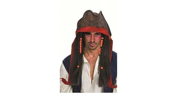 Disfraz de pirata Jack Sparrow peluca disfraz accesorio Scary 281617: Amazon.es: Hogar