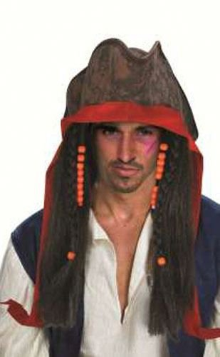 Disfraz de pirata Jack Sparrow peluca disfraz accesorio Scary 281617