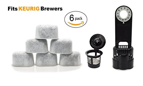 Keurig Compatible Water Filter Replacement with Holder and K Cup Kit - Universal (NOT CUISINART) for Kuerig Coffee Machines 1.0 - Removes Impurities and Improves Taste by ElloGreen (6 PACK)