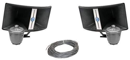 Atlas Sound BIA-100 Bi-Axial Horn Loudspeaker Bundle with PD60AT 60 Watt 70 Volt Compression Driver and West Penn 224 18/2 AWG Speaker Wire - Contractor Pack (2 Horns) ()