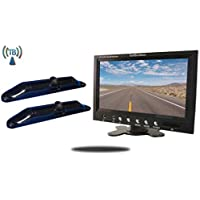 Tadibrothers 7 Inch Monitor with 2 Wireless CCD Steel License Plate Night vision Backup Cameras