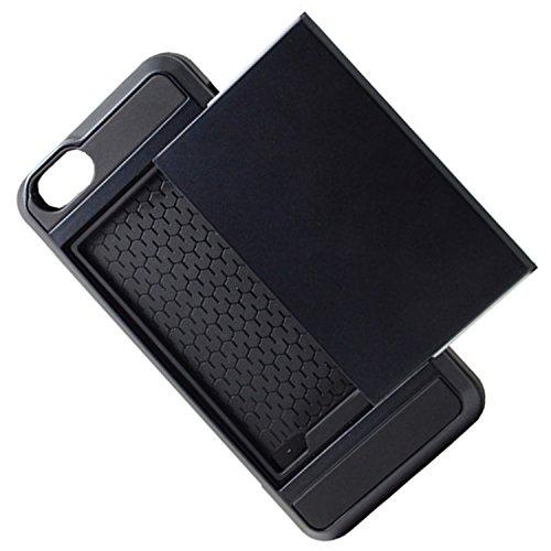 Telefon-Kasten - SODIAL(R)Karte Tasche Stossfeste Duenne Hybrid Mappe Abdeckung fuer iPhone 5/ 5S Schwarz