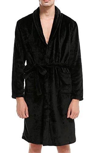 Yayun Yayu Mens Winter Ultra Soft Velour Robe for Men with Shawl Collar Black US S