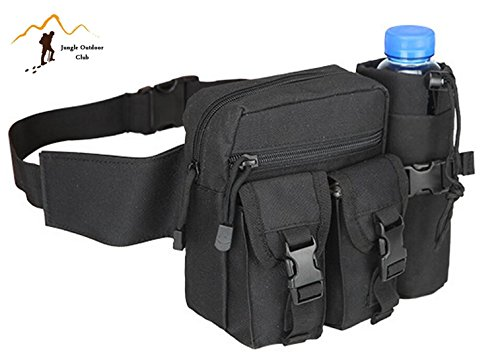 Jungle Oxford Hanging bag tasche bollitore tattico confezione piccola tasca marsupio borsa molle tattico tasche Wild Water Bottle hiking climbing zaino da ciclismo, nero