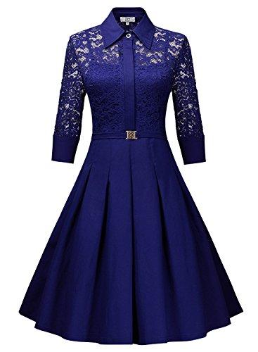 Miusol Vestido Plisado de Mujer Vintage Manga 3/4 Vestido de Novia Azul Brillante