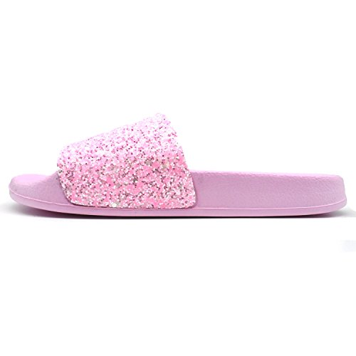 Slide Glitter Soft Da Sintetica Donna Pelliccia Sandali Caldo Rosa Ciabatte Coface Con Soffice Eva Piatti tqfOwIIA