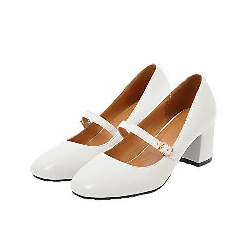 Donna Luccichio Tacco Flats Ballet Bianco VogueZone009 Medio Tirare Puro TqdwOx7z