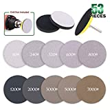 Keadic 50pcs 3 Inch Dry & Wet/Dry Sanding Discs Assortment Kit Aluminum Oxide Multiple Grits 80-7000, with 1/4 inch Shank Backing Pad and Soft Foam Buffering Pad for Hook & Loop Grinding Disc