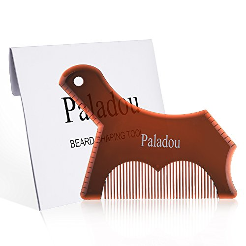 Beard Guide Shaping Tool- Multi-liner Trimming Beard Template- Transparent Beard Grooming Comb for Perfect Line up& Edging- Best Gentlemans Beard Comb Gift