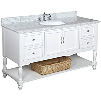 Kitchen Bath Collection KBC227WTCARR Beverly Single Sink Bathroom Vanity With Marble Countertop Cabinet Soft