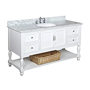 Beverly 60-inch Single Bathroom Vanity (Carrara/White): Includes White Cabinet with Authentic Italian Carrara Marble Countertop and White Ceramic Sink
