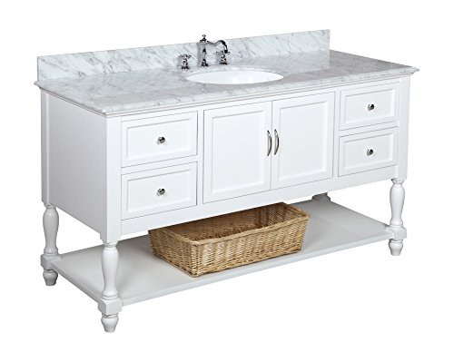 Kitchen Bath Collection KBC227WTCARR Beverly Single Sink Bathroom Vanity with Marble Countertop, Cabinet with Soft Close Function and Undermount Ceramic Sink, Carrara/White, 60