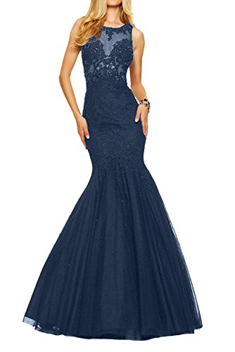 Braut Promkleider Langes Spitze Ballkleider Damen Dunkel La Meerjungfrau Marie Blau mit Champagner Abendkleider FvwgS5Aq