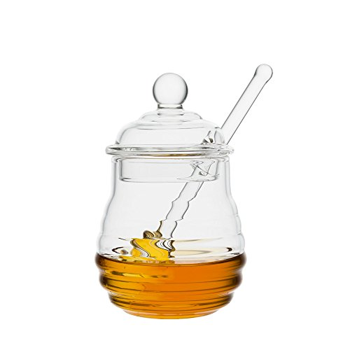 Mkono Glass Honey Jar with Dipper, Clear, 9 Ounces