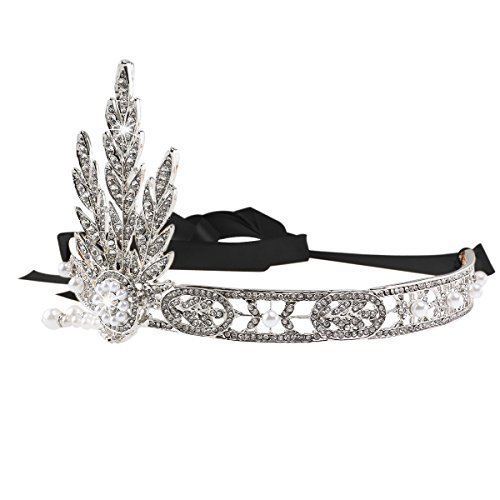 Pixnor Bling Silver-Tone The Great Gatsby Inspired Flapper Leaf Simulated Pearl Wedding Tiara Headpiece (Great Ribbon)