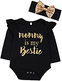 "Newborn Baby Girls Clothes Floral ""Mommy is My bestie""..."