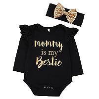 """Newborn Baby Girls Clothes Floral """"Mommy is My bestie"""" Bodysuit Romper +headb..."""