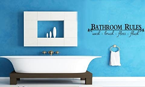 Bathroom Rules Quotes Wall Decals Bathroom Rules Wash Brush Floss Flush Quote Saying Wall Art (Bathroom Wall Decal Quotes)