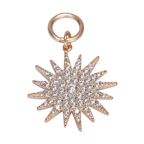 1 x Shinning Star Gold Plated Sterling Silver Charm Bead Swarovski Crystal fits All Charm Bracelets for Women Girls Gifts EC680 ()