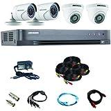 نظام كاميرا أمان CCTV فل اتش دي 1080P من هايكفيجن 4CH - الكل في واحد مع كاميرا H.265 4MP لايت DVR (بدون HDD) ورصاصتين وكاميرا برجين، ومحول طاقة وإكسسوارات كاملة للتركيب