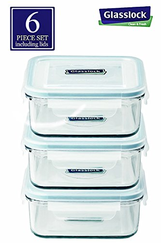 Glasslock Food-Storage Container with Locking Lids and Microwave Safe - Square 30 Ounces